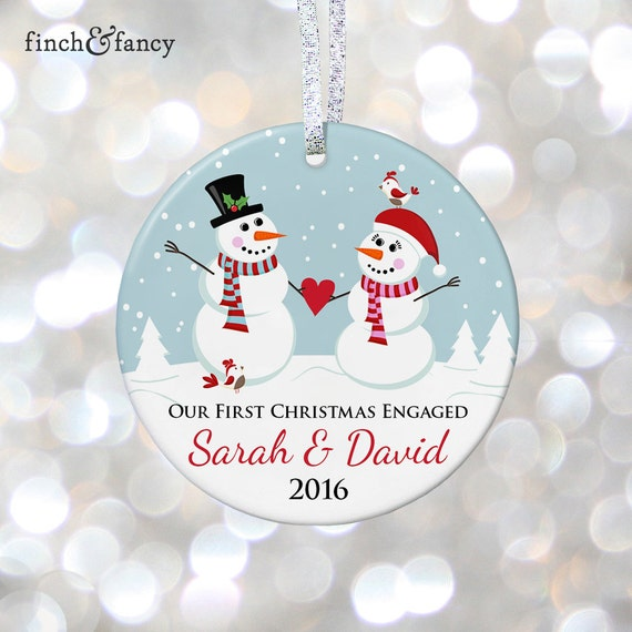 items similar to personalized engaged christmas ornament engagement christmas ornament snowman