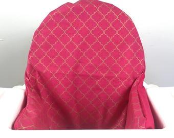 Hot pink and gold IKEA Antilop highchair blames high chair cushion cover - for pyttig cushion - high chair pad liner