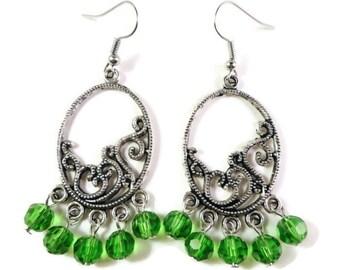 Green Chandelier Beaded Earrings, Crystal Bead Earrings, Beadwork, Oval Hoop Earrings, Boho Jewelry, St. Patrick's Day, Women's Jewlery