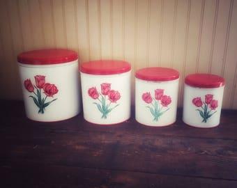 Vintage Red Tulips Decoware Canister Set