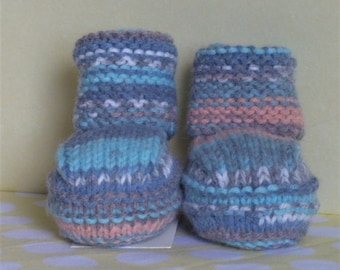 Baby Booties Baby Boy Bootees Hand Knit Baby Shoes Fairisle Baby Slippers Colourful Crib Shoes Soft New Baby Shoes Baby Shower Gift