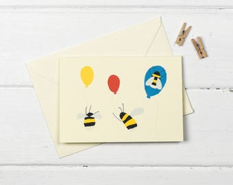 Bee party- birthday greetings card