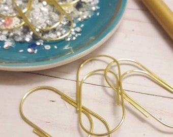 10 Large Wide Gold Paperclip Planner Clip Bookmarks