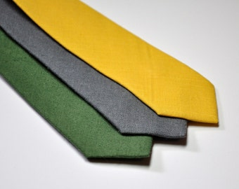 Men's Skinny Neckties in Linen Lots of Colors Available