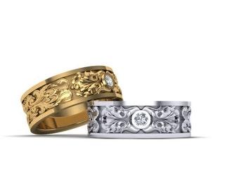 wedding band gold diamond 14k