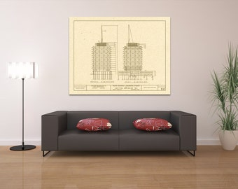 Capitol records etsy more colors print of vintage capitol records building blueprint malvernweather Image collections
