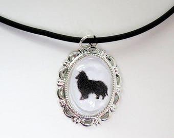 Shetland Sheepdog, Cabochon, Pendant, Cameo, Cameo Necklace, Necklace, Victorian, Black, Metal, Glass Pendant. Pet Loss Gifts, Sheltie
