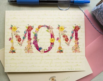 Mother's Day Card floral - pretty floral Mothers day greeting card - Mom I love you card