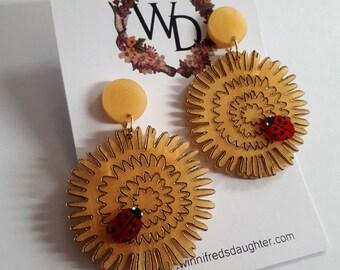Dandy Lady Wearable Art Drop Earrings (Golden Glitter Bird Edition) by Winnifreds Daughter
