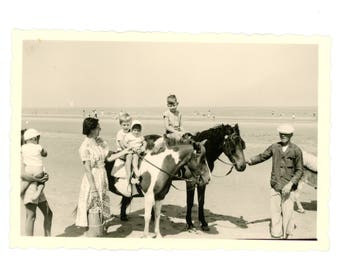 Vintage photo - Horseriding on the shore - Original Vintage Photos from PhotoTrouvee - 1950s found photo
