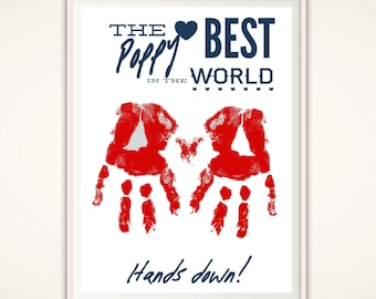 Gifts for Poppy - Poppy Gifts, Grandpa, Grandfather, PRINTABLE Handprint Art, Gifts From Grandkids, From Kids, Father's Day Gifts, DIGITAL