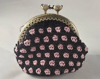 Crochet coin purse, vintage style coin pouch with metal closure, black with pink dots