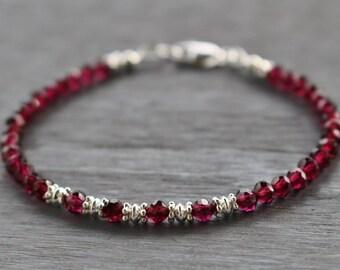 Garnet Beaded Bracelet With Silver Beads, Garnet Gemstone Bracelet, January Birthstone, Boho Stacking Bracelet, Valentine's Gift For Her