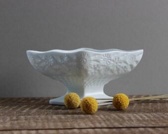Vintage Milk Glass Flower Dish