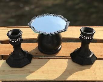 Black unity candle holder, wedding ceremony , unscented candle, black candle holder, Goth wedding