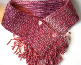 Adult's Pink Cowl. Crossover short scarf. Pink crossover scarf. Red/Pink Cowl. Hand knitted Cowl. Recycled buttons. Birthday gift. Soft Pink