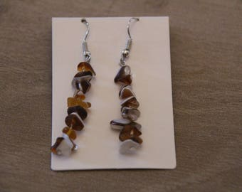 EARRINGS with small brown stones