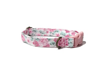Petunia Rose - Girly Vintage Inspired Cream Light Pink Floral Flower Organic Cotton CAT Collar Breakaway Safety - All Antique Metal Hardware