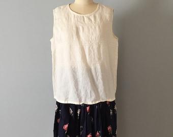 EYELET linen top   slouch linen crop top   sleeveless cream white linen top