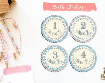 Monthly Milestone Stickers, Baby Boy Gift, Baby Firsts Year Stickers