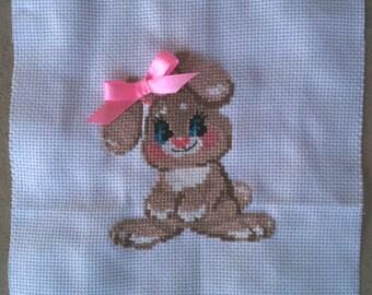 Finished Cross Stitch, Baby Rabbit, 10ct white aida 6x7 Riolis Bunny