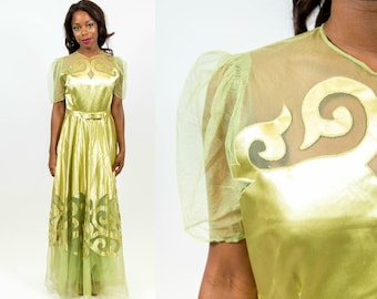 1940s Chartreuse Evening Gown - Small
