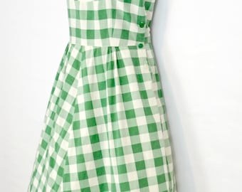 1950s Green and White Checkered Plaid Sundress, XSmall, Summer, Pin Up, Rockabilly