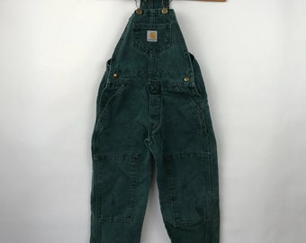 Youth Carhartt Overalls -  Teal Bib and Braces Size 4/5 Vintage Carhartt Dungaree