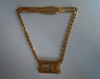 "Nice 1930s Swank Gold Tie Bar with Art Deco Pendant with Initials ""CB"" or ""BC"""