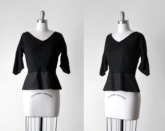 50's peplum top. 1950's black blouse. eyelet. sheer. small blouse. 50 bombshell top.