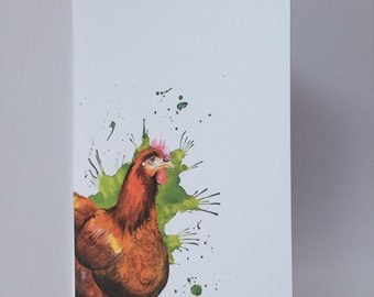Red hen card, blank card, chicken , farm animal