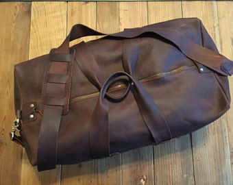 Leather duffle bag - Weekender, overnighter, traveler