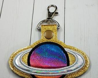 Glitterific Ringed Planet Key Chain/ Bag Tag