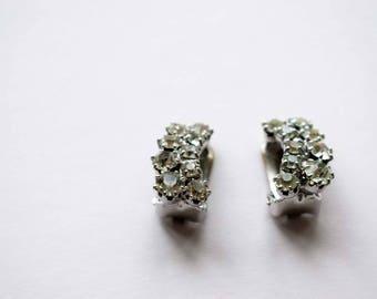 Vintage Clip On Earrings,  1950's Earrings, Clear Rhinestone
