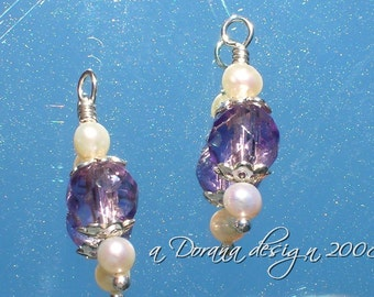 Iris Collection - myDesign Interchangeable Charms - Freshwater White Pearls & Genuine Amethyst in Sterling Silver - Handmade by DORANA