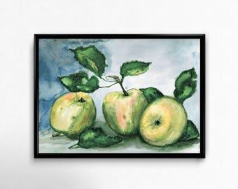 Printable apples Printable Art Watercolor Wall Art Digital Art