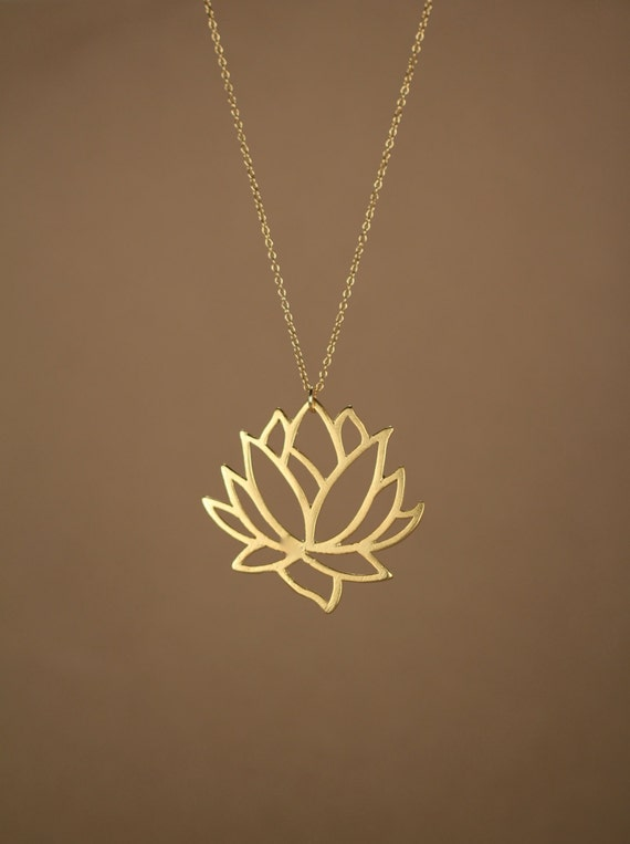 Lotus necklace gold lotus flower necklace blooming flower mozeypictures Choice Image