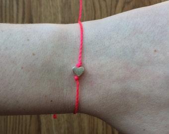 Tiny Silver Heart Friendship Bracelet