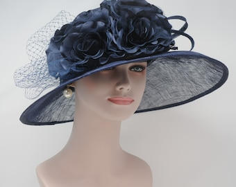 Navy Blue  with Satin  Flowers Kentucky Derby Hat, Church Hat , Tea Hat Wide Brim Sinamay Hat 7503