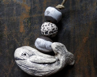 Moby - Artisan made ceramic focal and beads - Hand Sculpted Whale - 1 focal and 3 beads - Shades of white