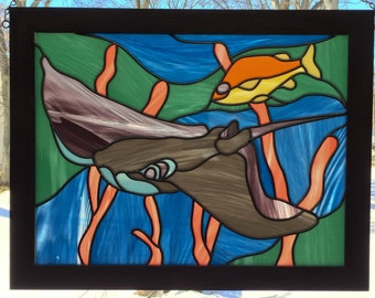 Decorative Leaded Glass*Framed Stained Glass Window Panel*Sea Life Art Glass Window*Sting Ray*Art Glass Maker*Walnut Framed Art Glass
