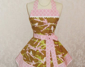 Retro Chic Bird Apron in Adorable Sparrow With Double Skirts Flirty Housewife Apron Handmade in USA - Ready to Ship