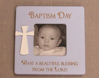 "This ""Baptism Day"" qoute Frame holds a 4x6 photo trimed to fit. Frames qoute is etched with a laser."