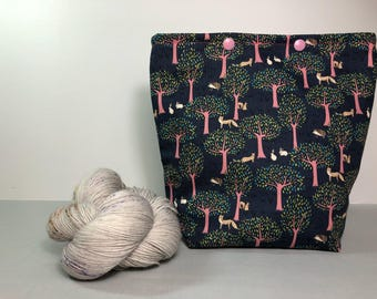 Twilight Woodland Knitting Project Bag - Snap GoGo