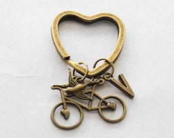 Bike Keychain Cyclist Keychain Bike Keychain Bicycle Initial Keychain Bike Accessories Personalized Bicyclist Key ring Cycling Accessories