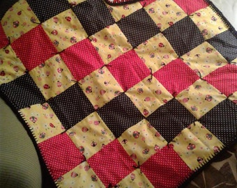 Red and Yellow Ladybug Baby Quilt