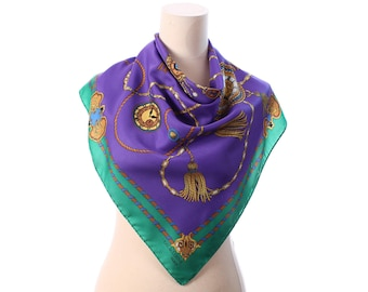 CHAINS Scarf 80s Royal Shawl Gold Purple Green Beige Print Luxury Neckerchief Tassels Neckwear Retro Golden Clocks Printed Moms Gift Urban