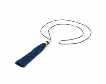 Buddha necklace pendant and blue tassel