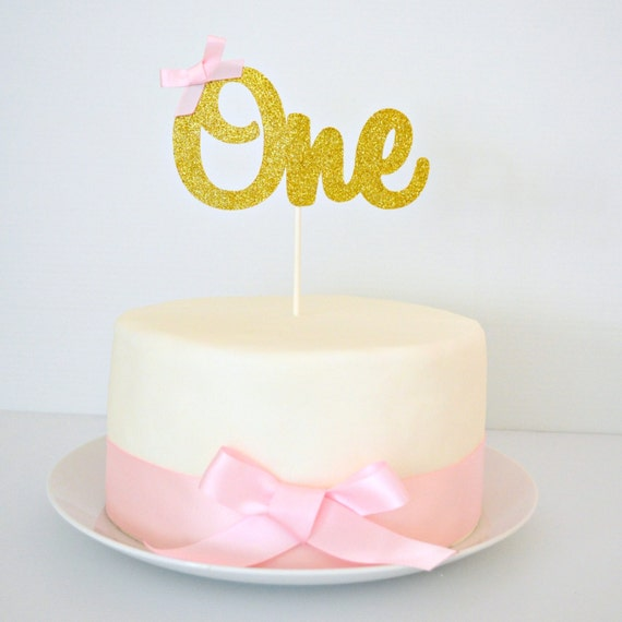 READY TO POST One Cake Topper Gold Glitter One 1st