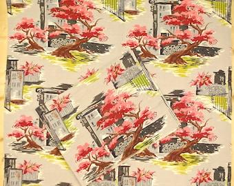 "Vintage 1940's/50's 2 Pieces Barkcloth Fabric / 1- 43"" x 34 1- 43 x 42"" / City Tree Print / Retro Collectable Rare"